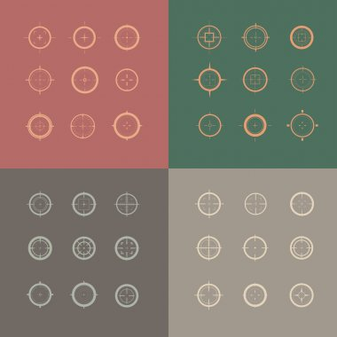 Collection of vector targets. Different crosshair icons. Aims templates. Shooting marks design. stock vector