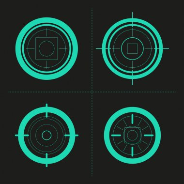 Vector collection of target flat icons. Crosshairs set. Aims isolated.