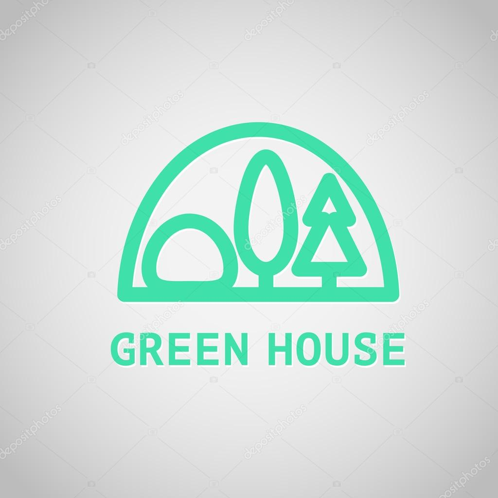 Vector greenhouse logo templates. Hothouse insignia collection.