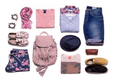 A collection of summer clothes in casual style on a white background