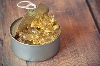 Fish Oil Capsules out of Can