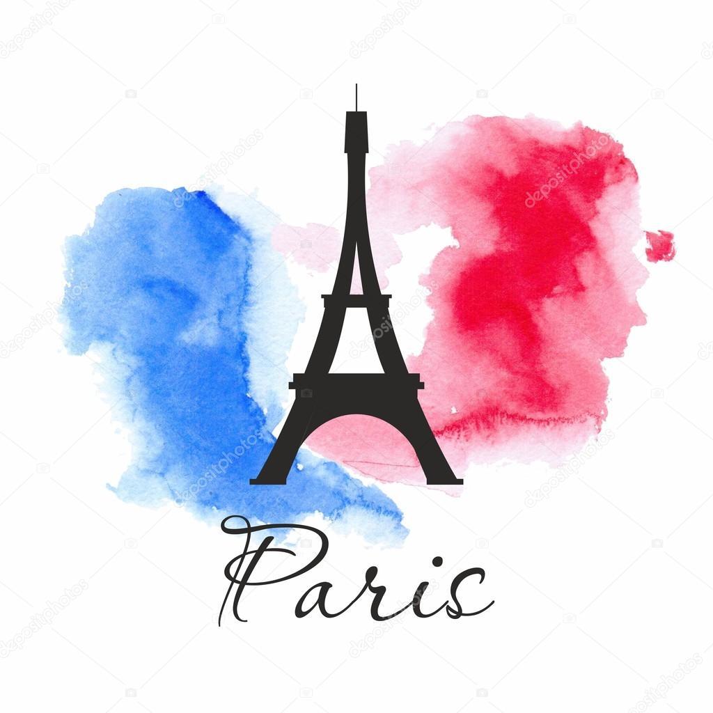Disegno dell 39 acquerello con icona di parigi bandiera for Disegni di casa francese
