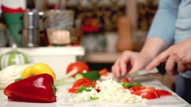 Female hand cutting vegetables