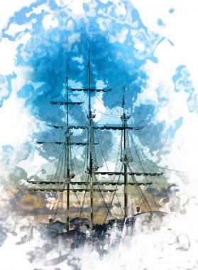 masts of an old ship