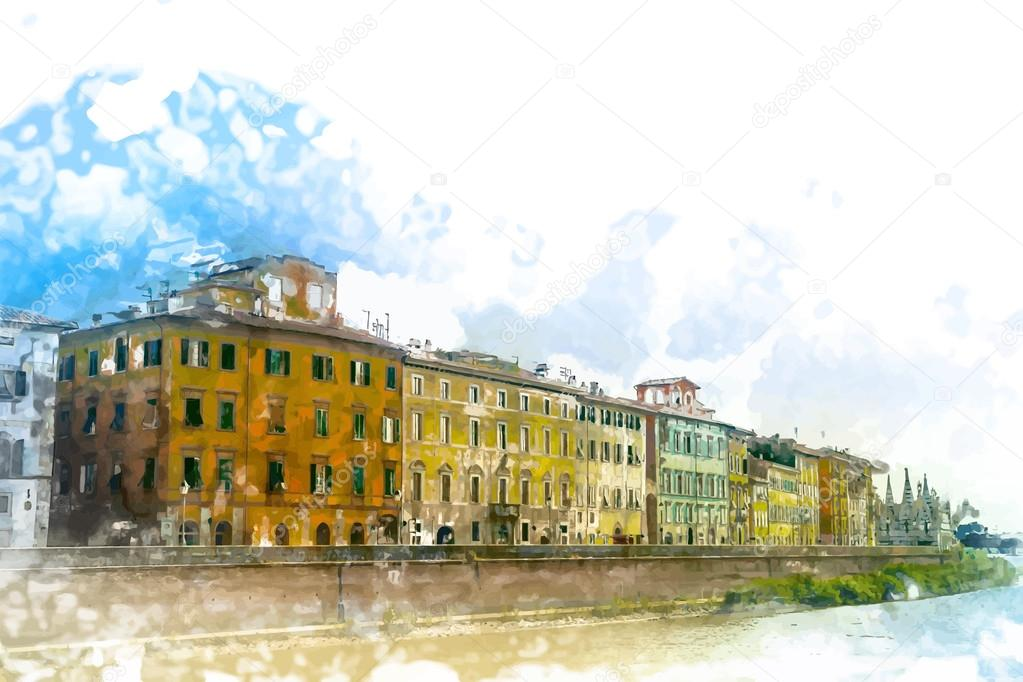 View of old street and river Arno in Pisa city