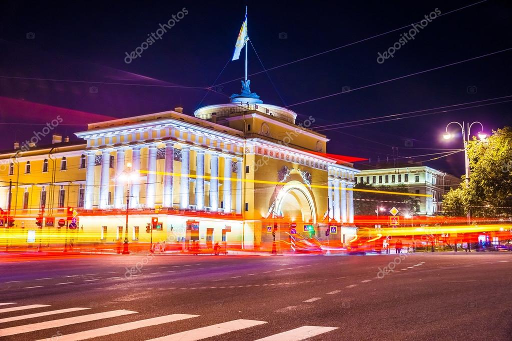Beautiful night view of Admirality in Saint Petersburg.
