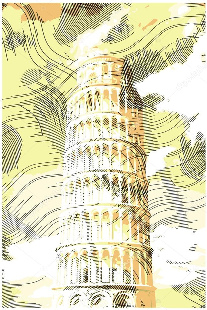 Famous pisan tower rendered with engraving effects.