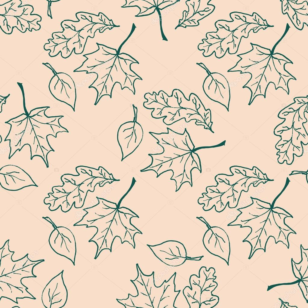 Seamless pattern with hand drawn leaves