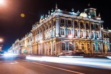 Beautiful night view of Winter Palace in Saint Petersburg.