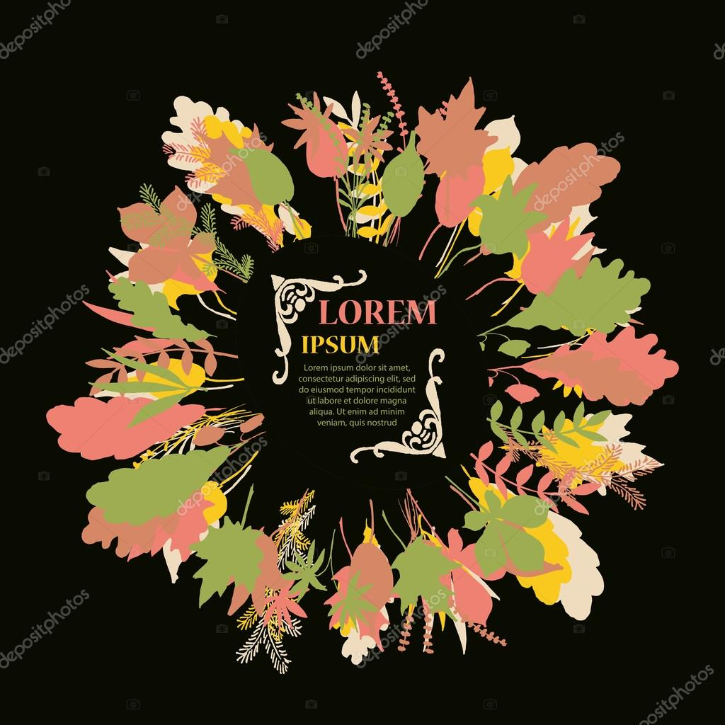 Autumnal round frame. Wreath of autumn leaves.