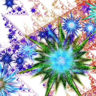 Abstract flower with snow