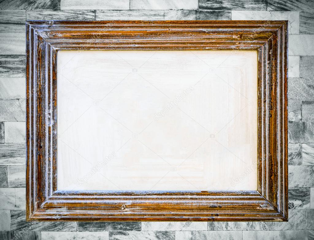Vintage wooden frame on old marble wall background. — Stock Photo ...