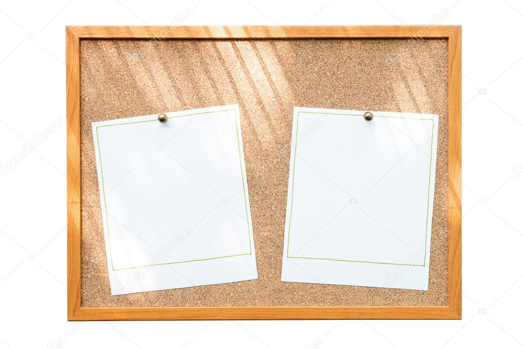 Leere Bilderrahmen auf Pinnwand mit Fenster Schatten isoliert auf ...
