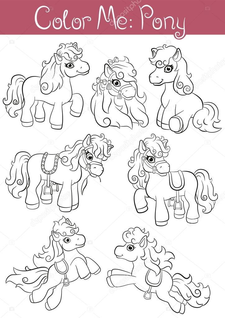 Set of seven little cute pony. They are standing, running, jumping and smiling.