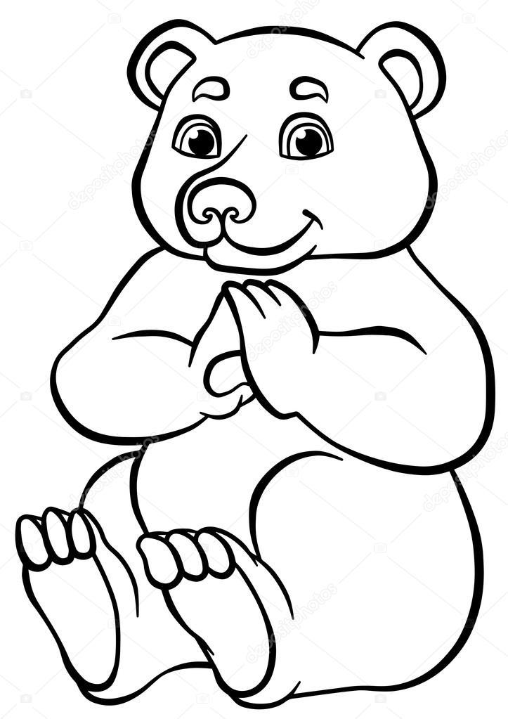 Kleine Niedliche Bär Sitzt Und Lächelt Stockvektor Ya Mayka