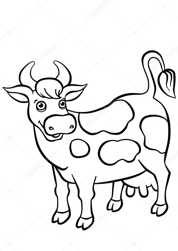 Vaca para colorear niños | Vaca cute stands y sonrisas — Vector de
