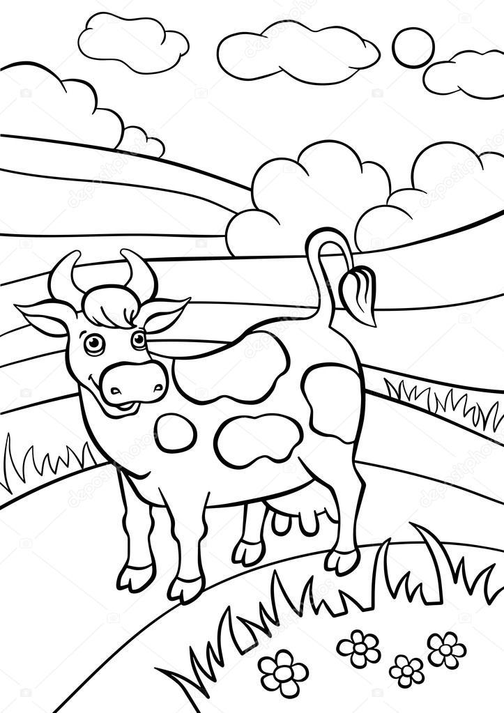Imágenes: vacas en el campo para colorear | Vaca cute se encuentra ...