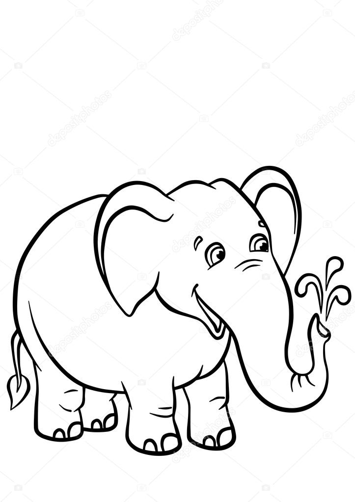 Cute Elephant Stands Ans Smiles Stock Vector C Ya Mayka 108577934