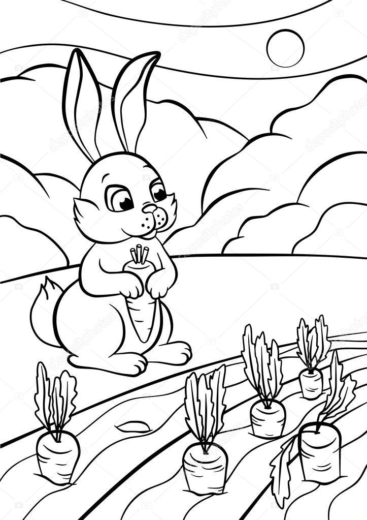 Küçük Sevimli Tavşan Standları Ve Havuç Elinde Tutan Stok Vektör