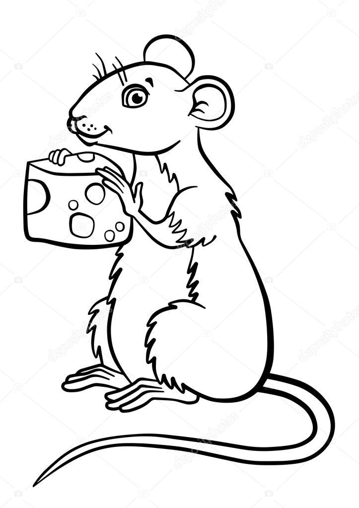 Imágenes: un pedazo de queso para colorear | Pequeño ratón lindo ...