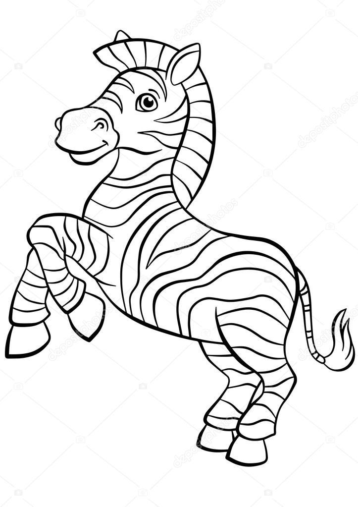 Little cute zebra stands and smiles. — Vector de stock © ya-mayka ...