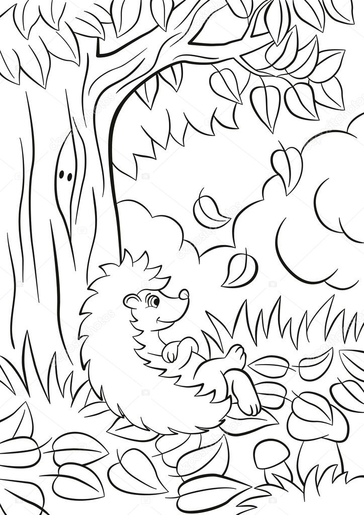 Little cute kind hedgehog sits near the tree and smiles.