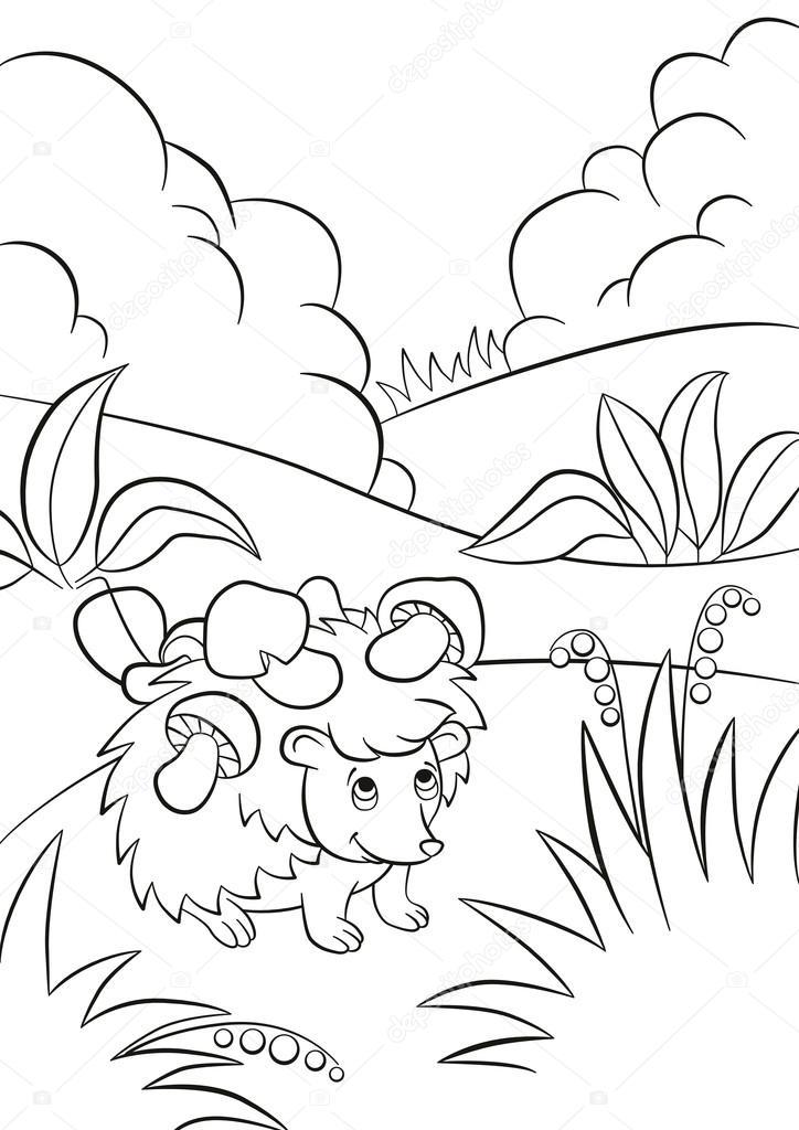 Little cute kind hedgehog has the mushrooms on the needles.