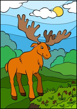 Cute kind elk stands in the clearing and looks at the berries
