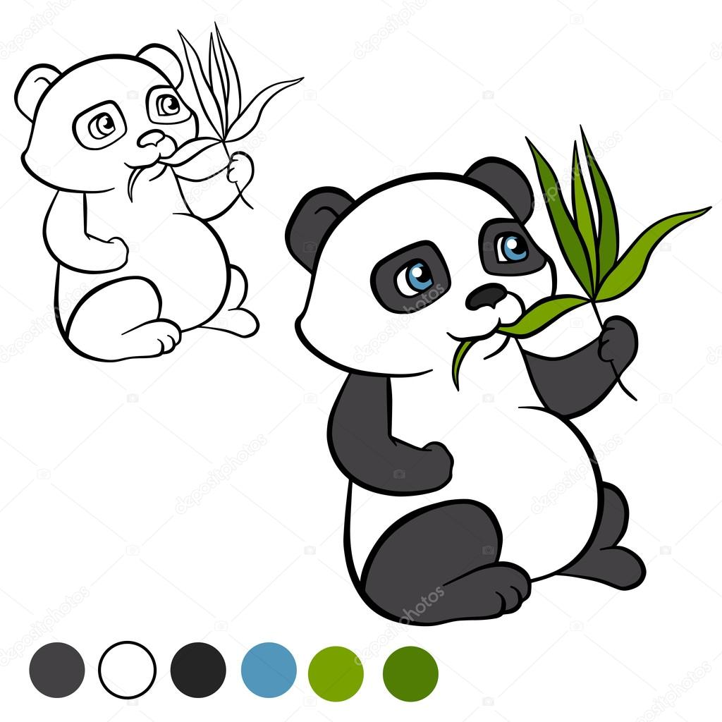 Little cute panda sits and eats leaves. It`s happy.