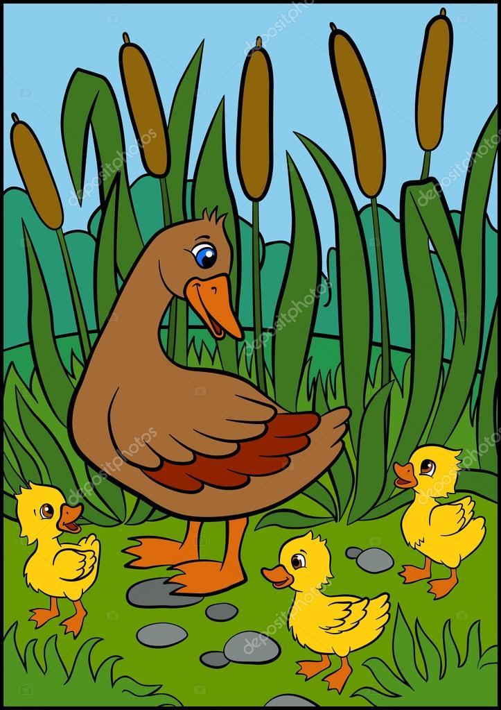 迷路的小鸭子视频_鸭妈妈带她可爱的小鸭子 — 图库矢量图像© ya-mayka #108593818