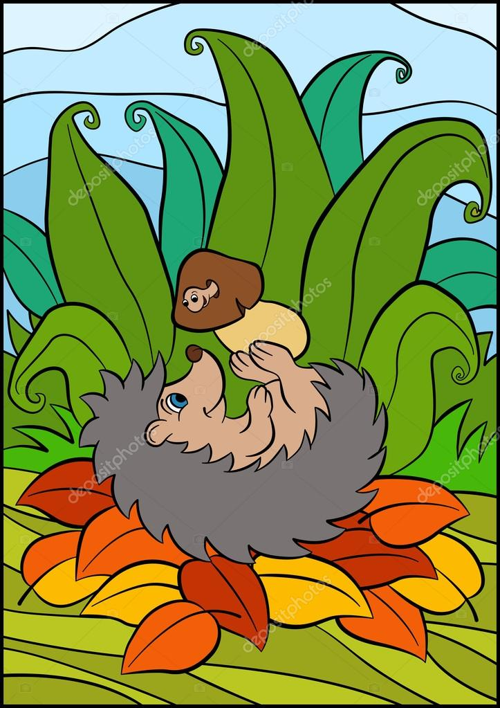 Little cute hedgehog lays and holds mushroom with worm in the hands.