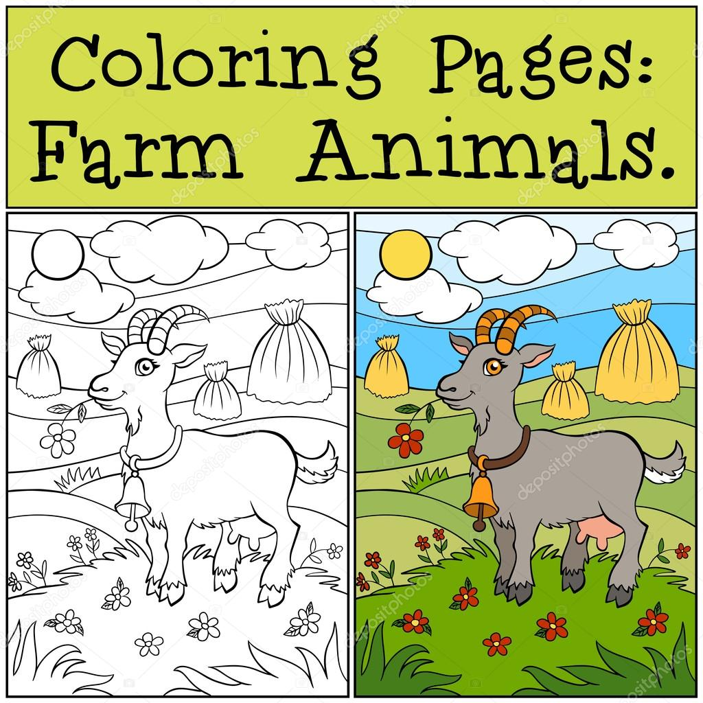 Coloring Pages: Farm Animals. Cute goat stands on the grass in t ...