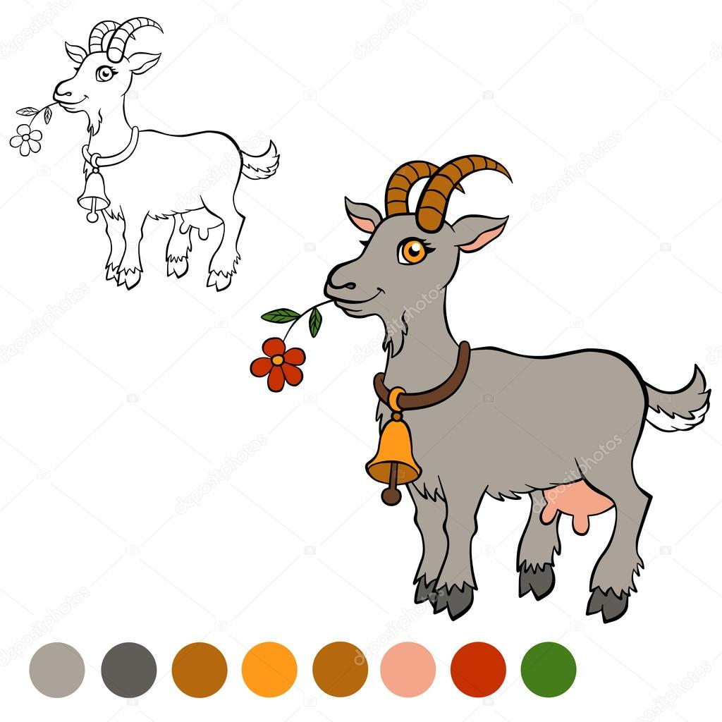 Coloring page. Color me: goat. Cute goat holds a flower in the m ...