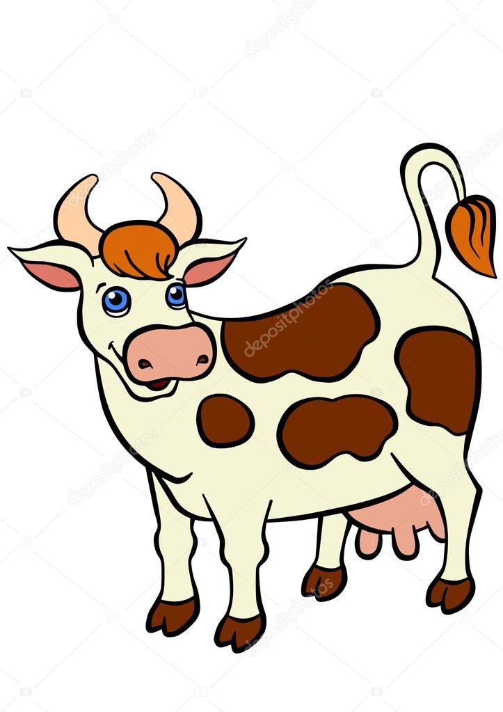 Dibujos animados animales de granja para niños. Vaca cute stands y ...