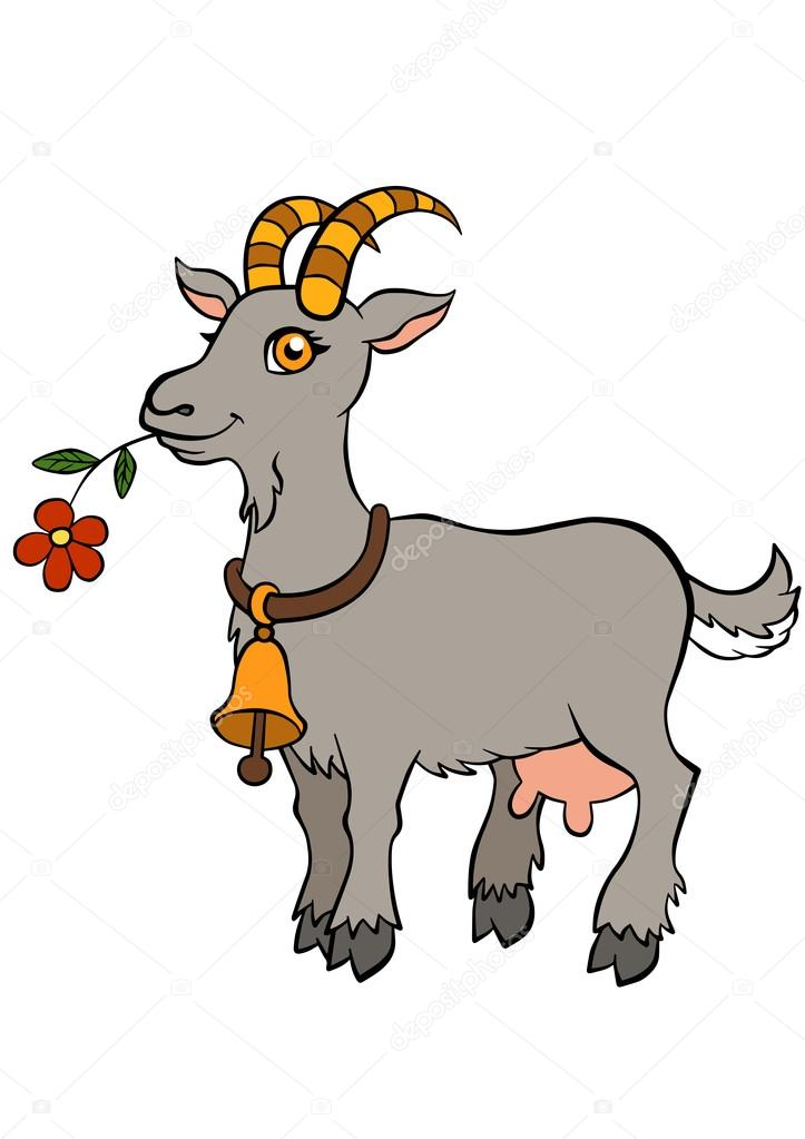 cartoon farm animals for kids cute goat stands and holds flower in the mouth vector by ya mayka - Pics Of Animals For Kids