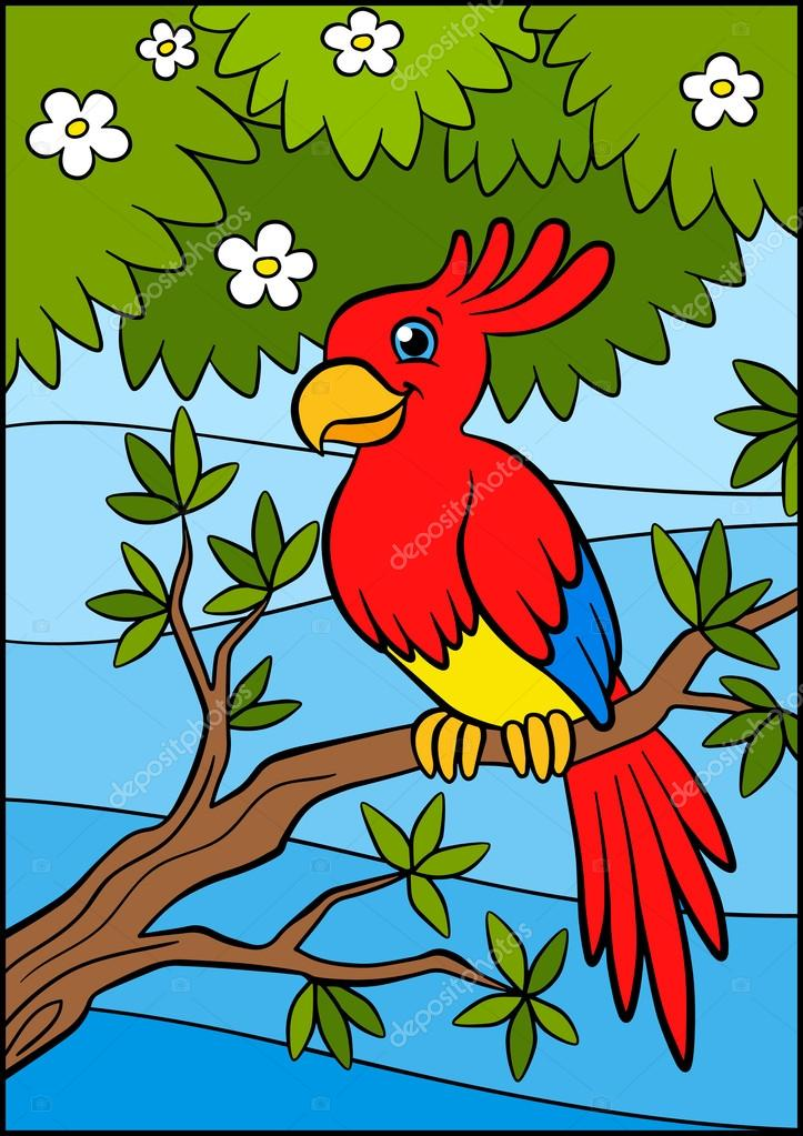 Aves De Dibujos Animados Para Niños Loro Lindo Poco Se Encuentra En