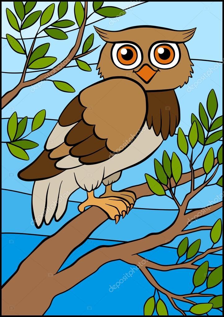Oiseaux De Dessins Animes Pour Les Enfants Petit Hibou Mignon Se