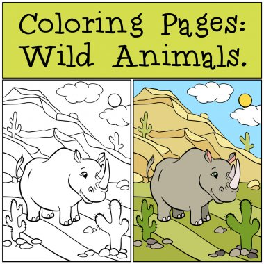 Coloring Pages: Wild Animals. Cute rhinoceros.