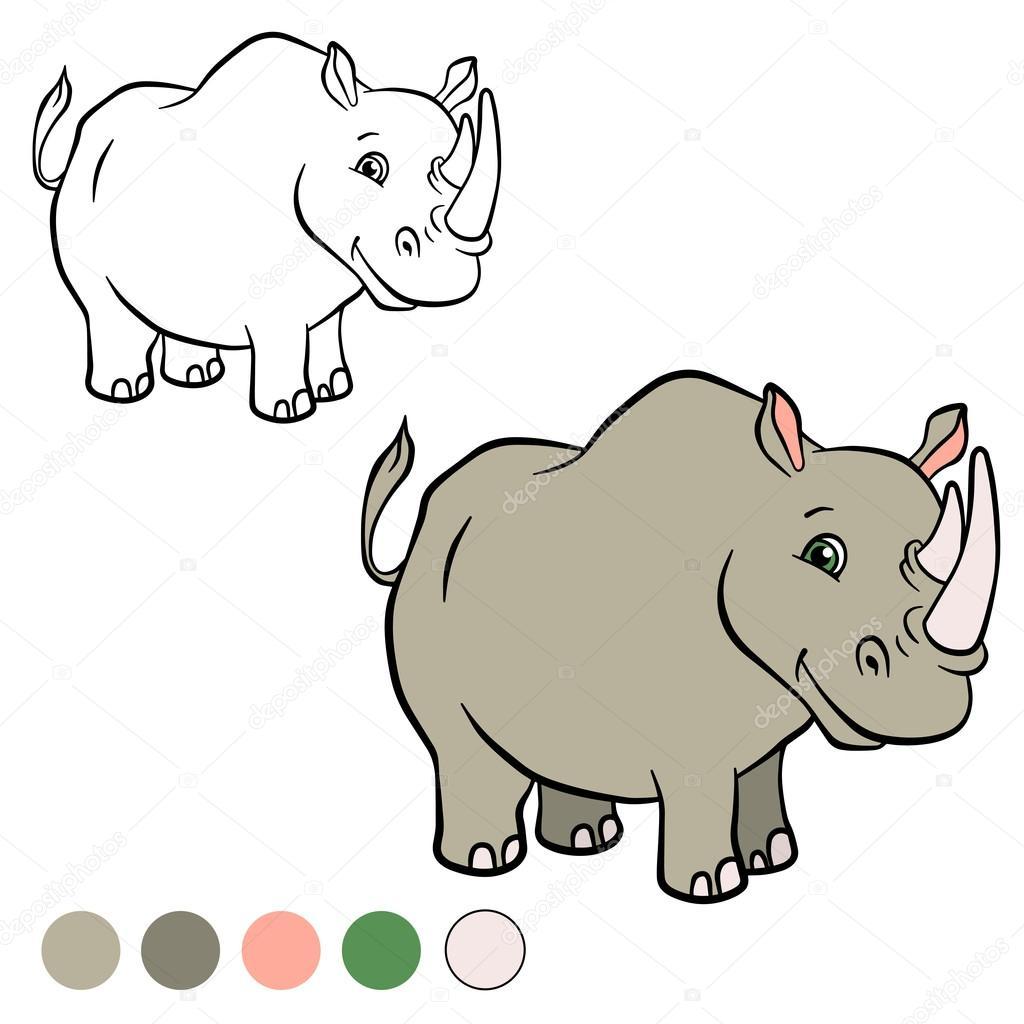 Página para colorear. Color me: rhinocetos — Archivo Imágenes ...
