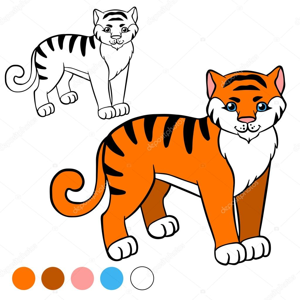 kleurplaat kleur me tijger stockvector 169 ya mayka