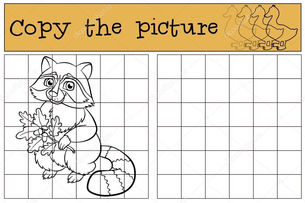 Juegos infantiles: copiar la imagen. Pequeño mapache cute — Archivo ...