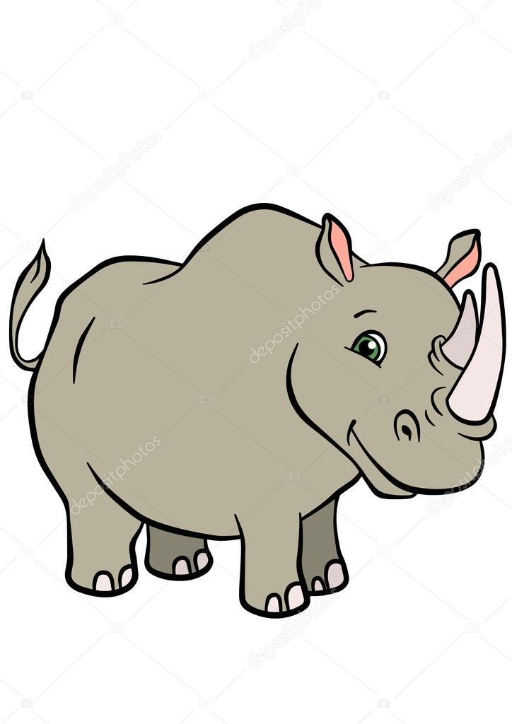 Cartoon wild animals for kids. Cute rhinoceros.