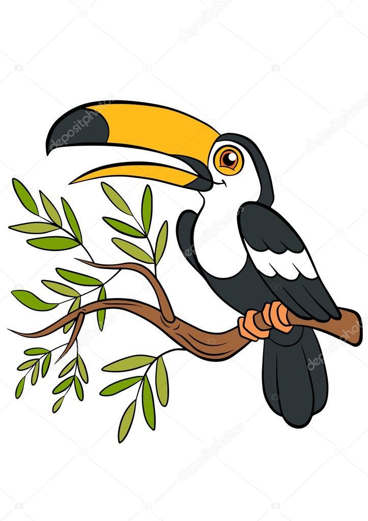 Aves de dibujos animados para niños. Pequeño tucán lindo — Archivo ...