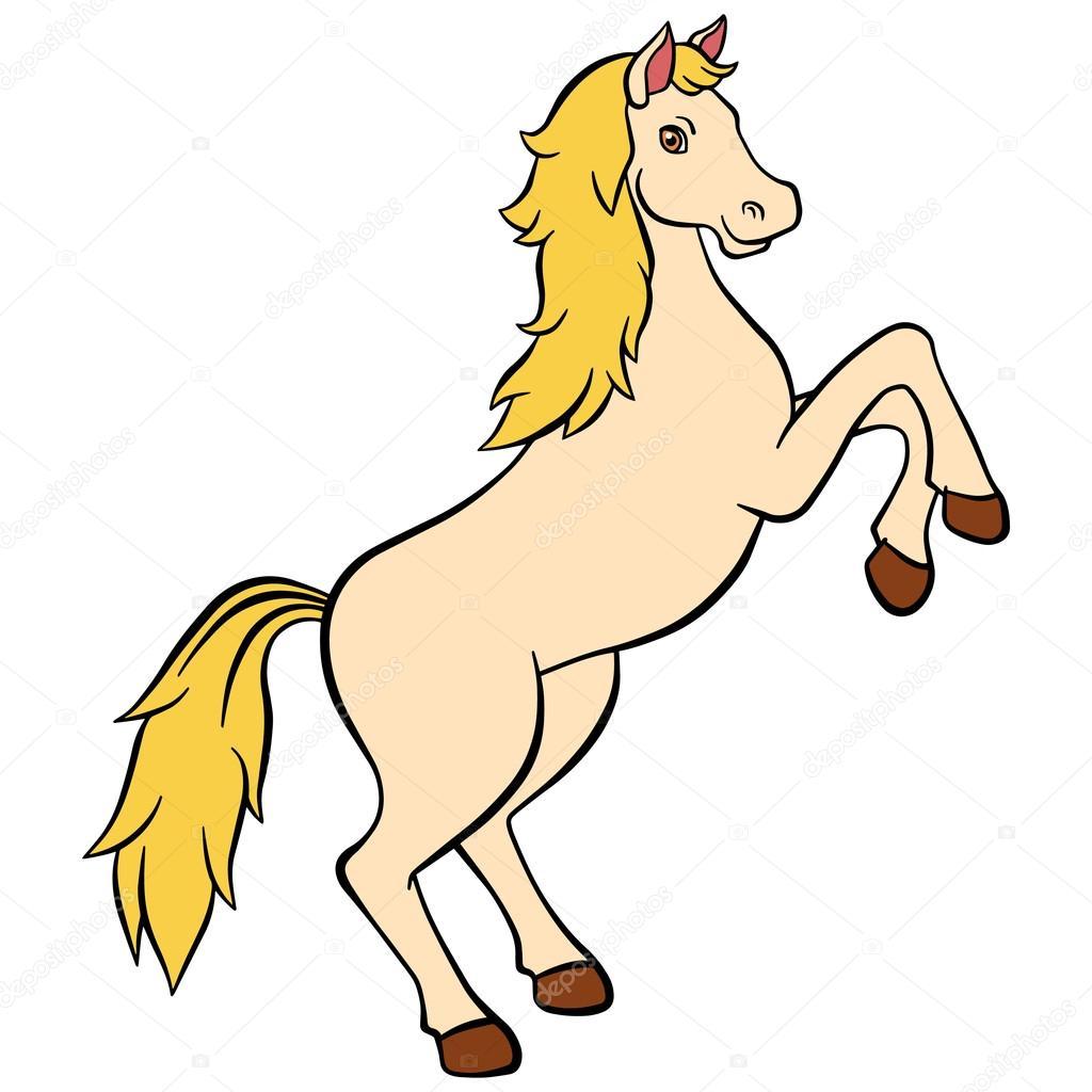 Cartoon Farm Animals For Kids Cute Beautiful Horse Smiles Stock Vector C Ya Mayka 109620790