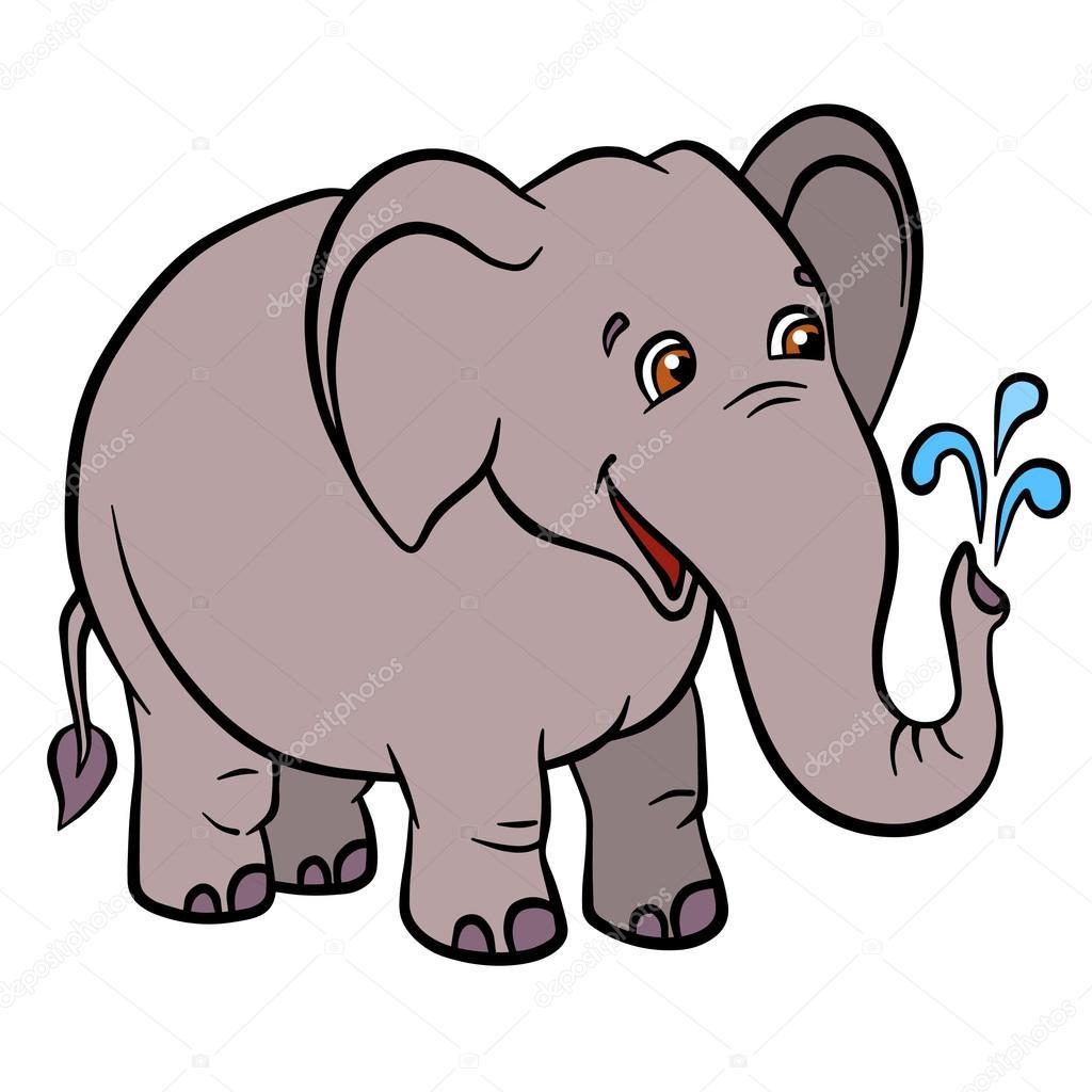 Cartoon Wild Animals For Kids Little Cute Elephant Lets