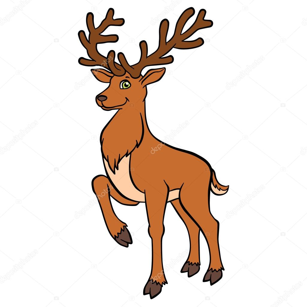 cartoon wild animals for kids cure deer with great horns