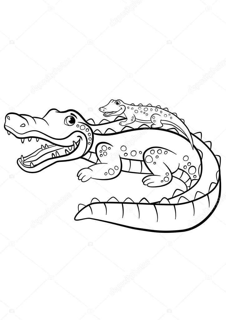 Coloring pages. Animals. Mother alligator with her little cute b ...