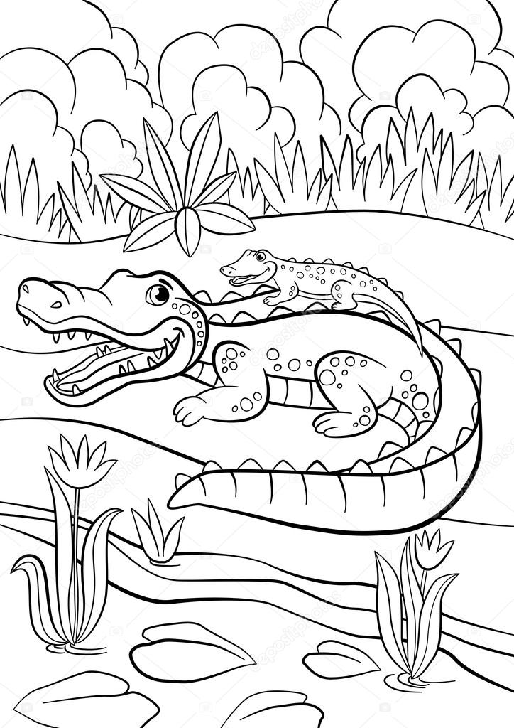 Coloring Pages Animals Mother Alligator With Her Little Cute B