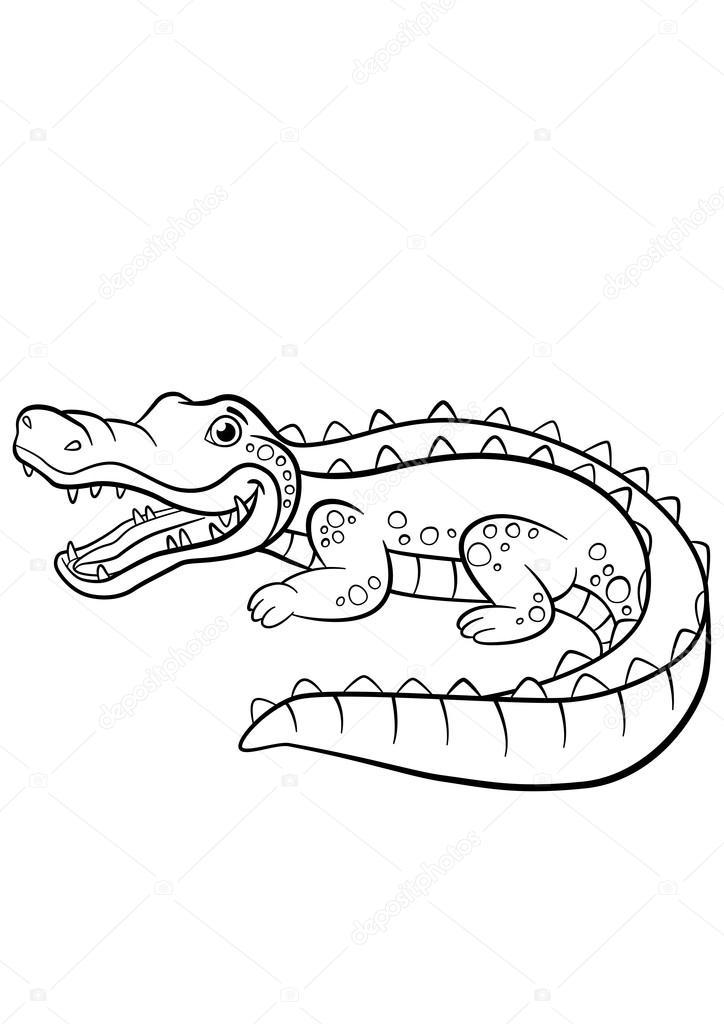 Dibujos para colorear. Animales. Cocodrilo lindo poco — Vector de ...