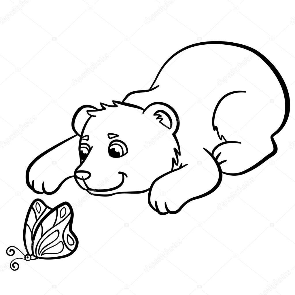 Dibujos para colorear. Animales salvajes. Osito lindo bebé — Archivo ...